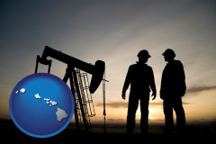 hawaii map icon and an oil well and two oil workers at dusk