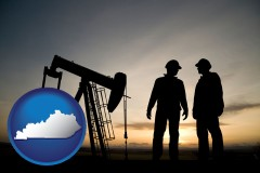 kentucky map icon and an oil well and two oil workers at dusk