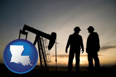 louisiana map icon and an oil well and two oil workers at dusk