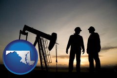 maryland map icon and an oil well and two oil workers at dusk