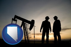 nevada map icon and an oil well and two oil workers at dusk