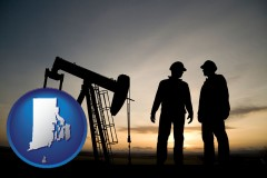 rhode-island map icon and an oil well and two oil workers at dusk