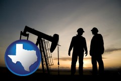 texas map icon and an oil well and two oil workers at dusk