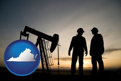virginia map icon and an oil well and two oil workers at dusk