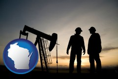 wisconsin map icon and an oil well and two oil workers at dusk