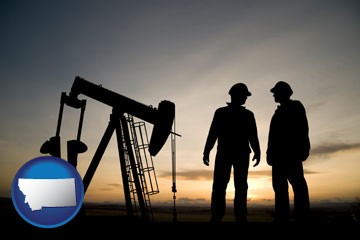 an oil well and two oil workers at dusk - with Montana icon