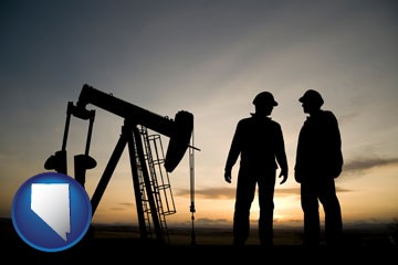 an oil well and two oil workers at dusk - with Nevada icon