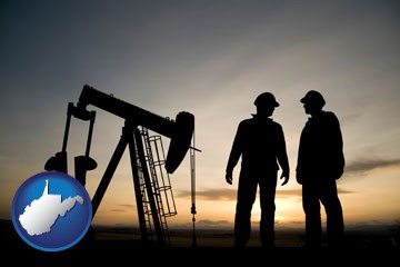 an oil well and two oil workers at dusk - with West Virginia icon