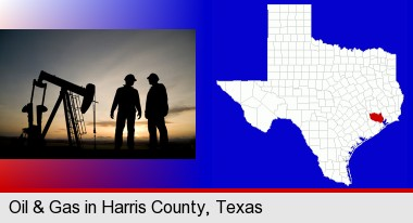 an oil well and two oil workers at dusk; Harris County highlighted in red on a map